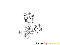 Jouer aux cubes dessins gratuits - Maternelle clipart