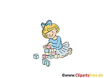 Jouer aux cubes image gratuite - Maternelle images