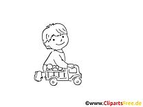 Jouer aux voitures image à colorier clipart