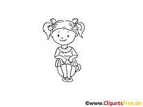 Petite fille clipart à imprimer - Maternelle images