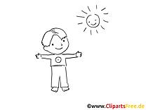Soleil image à colorier - Maternelle clipart