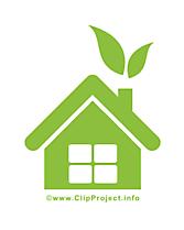 Maison verte image - Pictogramme clipart