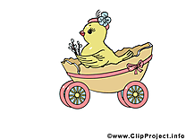 Charrette dessin - Pâques cliparts à télécharger