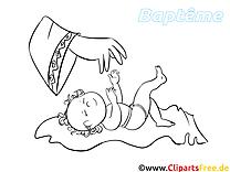 Baptême coloriage - Bébé dessin