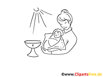 Mère dessin à colorier - Baptême cliparts