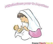 Mère image gratuite - Baptême illustration
