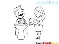 Prêtre images à colorier – Baptême clipart gratuit