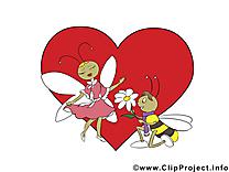 Abeilles dessin gratuit - Saint-Valentin clip arts
