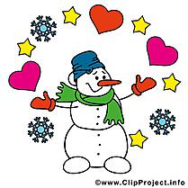 Bonhomme de neige Saint-Valentin  illustration