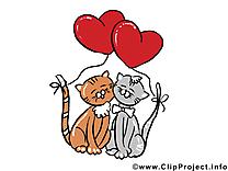 Chats jolie carte - Saint-Valentin images gratuites
