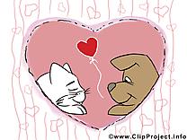 Chien et chat dessin gratuit Saint-Valentin
