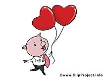 Cochon Saint-Valentin image gratuite