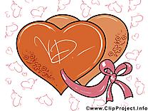 Coeurs cliparts - Saint-Valentin carte jolie