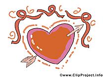 Flèche coeur dessins - Saint-Valentin clipart