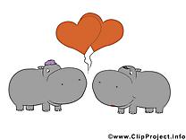 Hippopotames clip art – Saint-Valentin images