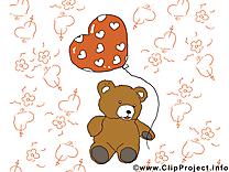 Ours en peluche carte virtuelle - Saint-Valentin clip art