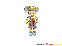 Basket-ball clipart - Fille balle dessins gratuits