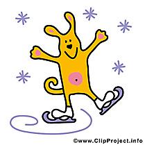 Chien hiver dessin gratuit - Patins à glace clip arts