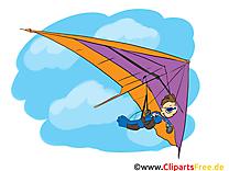 Deltaplane clip art gratuit - Vol dessin