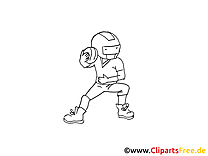 Football américain clip art gratuit à colorier