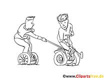 Polo sur monocycles image gratuite à colorier
