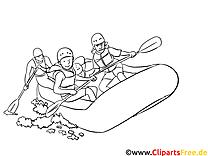 Rafting illustration à colorier gratuite