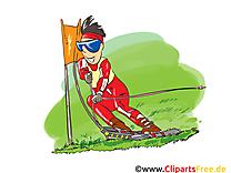 Ski sur herbe dessin - Activités d'été cliparts