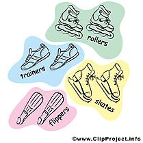 Sport dessin gratuit - Patins clip arts gratuits