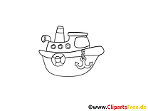 Bateau illustration à colorier gratuite