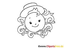 Élégante coloriage - Soleil clip art gratuit