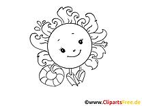 Natation image à colorier - Soleil images