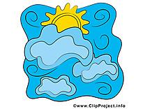 Nuages clip art gratuit - Soleil dessin