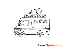 Camion de crème glacée clipart gratuit à colorier