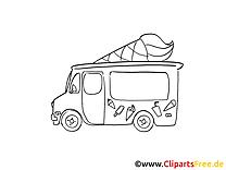 Camion de crème glacée dessin gratuit à colorier