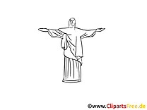 Christ Rédempteur à colorier - Rio de Janeiro clip art