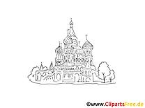 Moscou coloriage - Cathédrale russe images gratuites