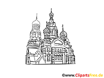 Moscou image à colorier - Cathédrale cartes gratuites