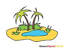 Oasis clip art – Palmier image gratuite