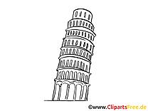 Pise clip art à colorier - Tour penchée images