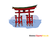Torii illustration - Japon carte gratuite