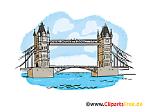 Tower Bridge dessin gratuit - Londres image gratuite