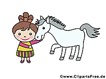 Fille cheval illustration gratuite – Animal clipart
