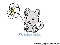 Fleur chat illustration gratuite – Animal clipart
