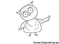 Hibou clipart à colorier – Animal dessins gratuits